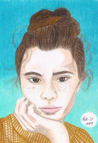 Portrait zeichnen mit Buntstift