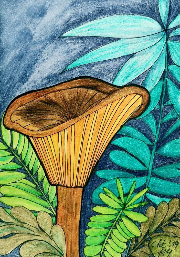 Pfifferling Pilz gemalt
