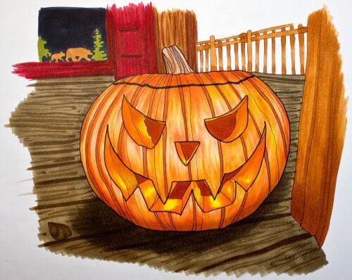 Halloween Kürbis malen mit Markern