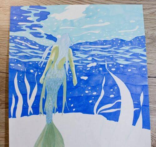 Meerjungfrau Unterwasser: Markerkolorierung