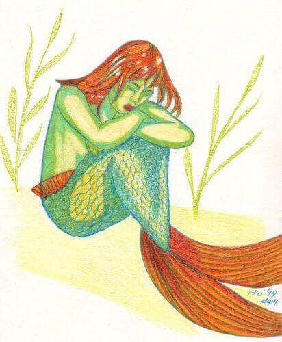 Meerjungfrau hockt Buntstiftkolorierung