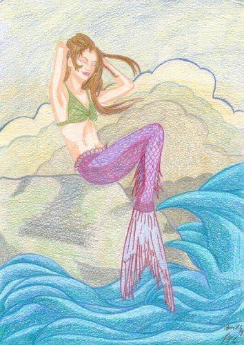 Meerjungfrau sitzt auf Felsen Buntstiftkolorierung