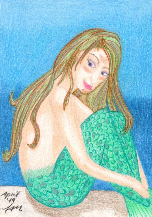 Meerjungfrau Buntstiftkolorierung