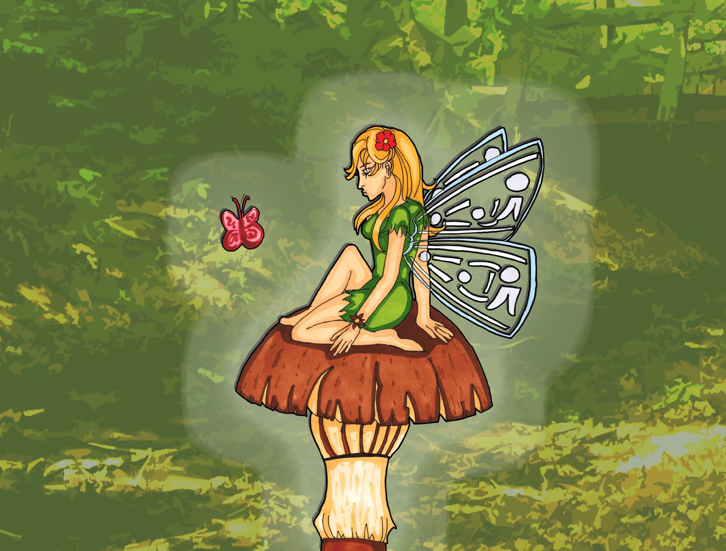 Feen und Elfen zeichnen lernen - Elfe auf Pilz im Wald