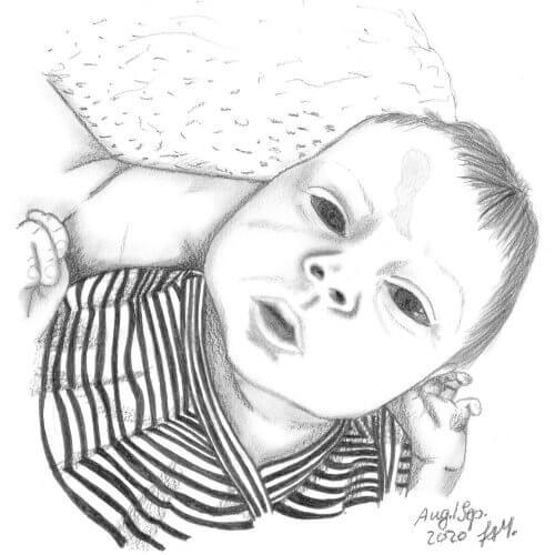 Liegendes Baby mit Bleistift gezeichnet