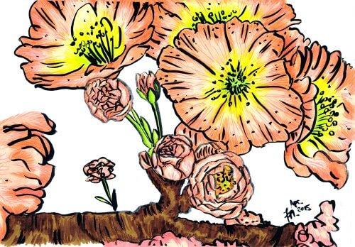 Kirschblüte zeichnen - Kolorierung mit PITT Artist Pen