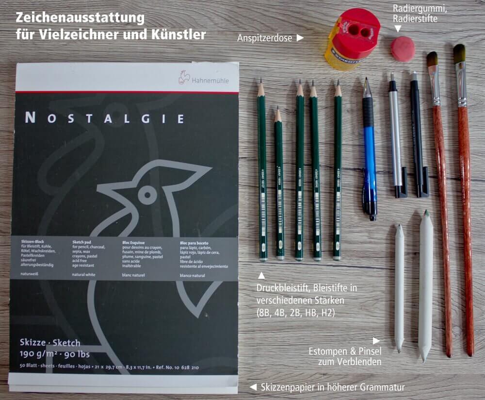 Zeichenausstattung für Vielzeichner und Künstler