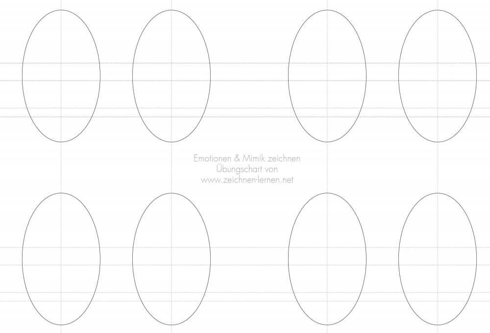 Vorlage mit Hilfslinien fürs Gesicht um Emotionen und Mimik zeichnen zu üben