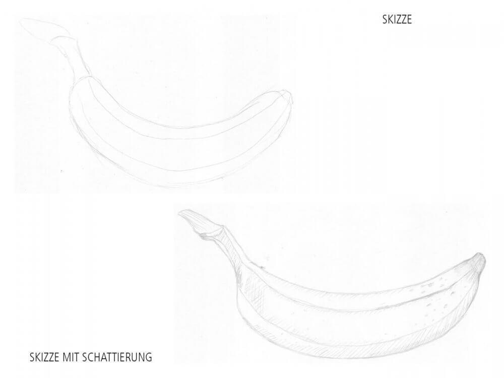 Skizze schattieren mit Bleistift mittels Linienschraffur