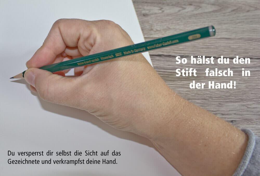 So solltest du den Stift beim Zeichnen NICHT festhalten